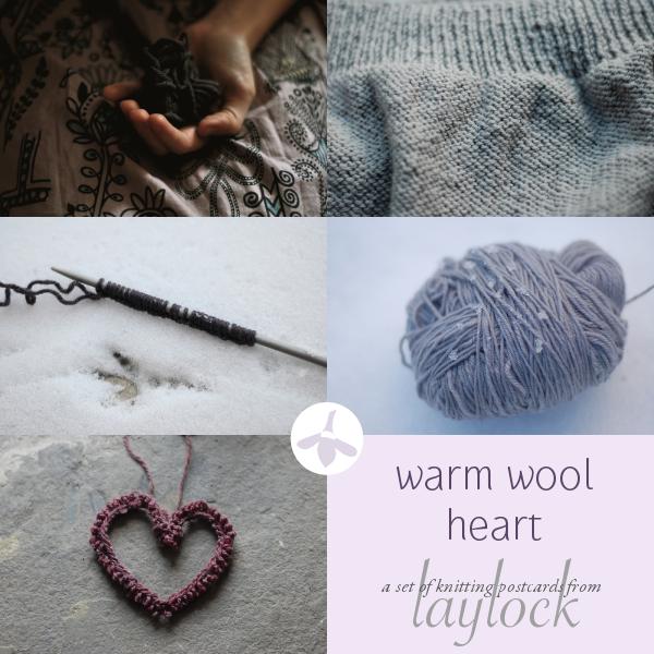 Warm Wool Heart Knitting Postcard Set